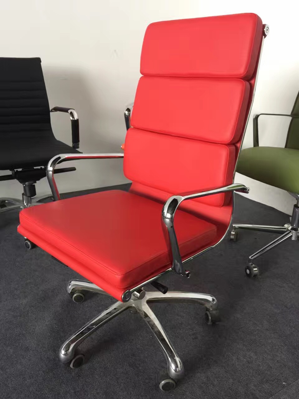 modern red eames office chair