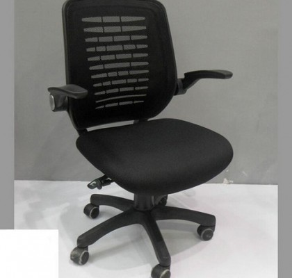 Mid-Back Black Mesh Swivel Task Chair With Mesh Padded Seat Office Chair And Flip-Up Arms