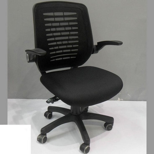 Mid Back Black Mesh Swivel Task Chair With Mesh Padded Seat Office Chair  And Flip Up Arms