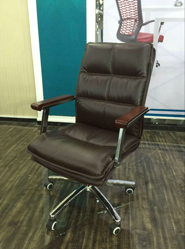 Imitation Leather Office Chair Senior Work Computer Chair Specifications Thicker Padded Meeting Room Chair with Arm -3