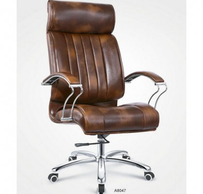 Popular High Back Swivel Executive Brown PU Leather Office Chair with Lift Adjustment