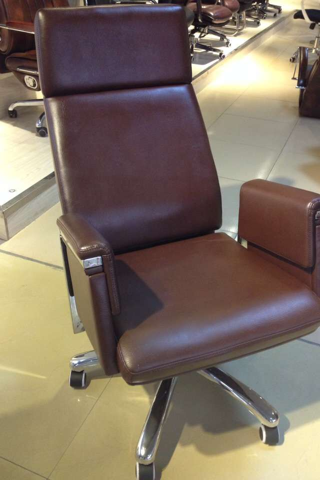 brown high back chair PU leather executive office chair reclining chair -2