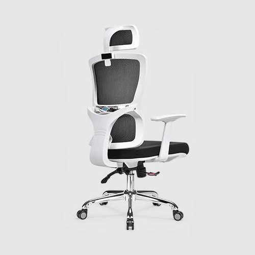 functional executive ergonomic office mesh chair height adjust swivel mesh meeing white frame recliner chair -3
