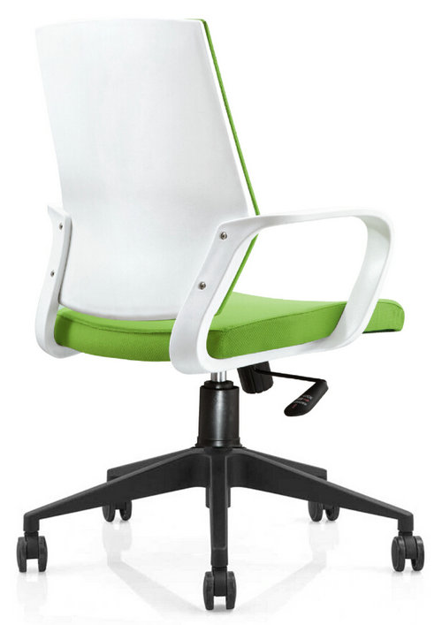 Hot sale plastic back fabric rolling swivel staff office chair with adjustable height nylon base -2