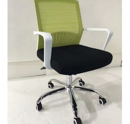 China Alibaba White Mesh Ergonomic Office Chair Staff Computer Revolving Task Seating