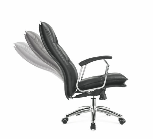 Foshan black genuine leather executive boss office chair managerial swivel chair -2