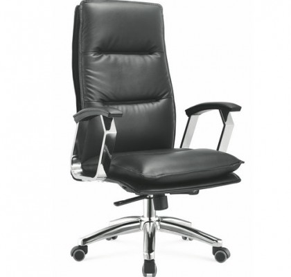 Foshan Alibaba high black genuine leather executive boss office chair managerial swivel armchair