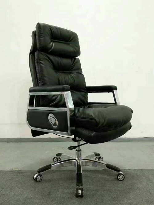 High back quality manager ergonomic computer leather swivel office chair with heavy duty base -3