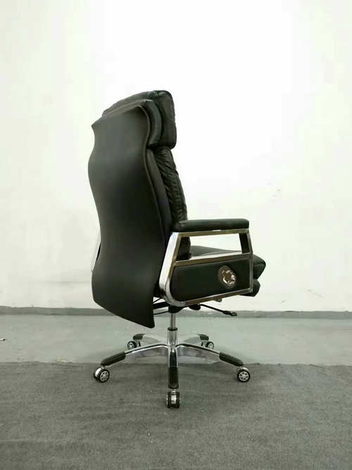 High back quality manager ergonomic computer leather swivel office chair with heavy duty base -5