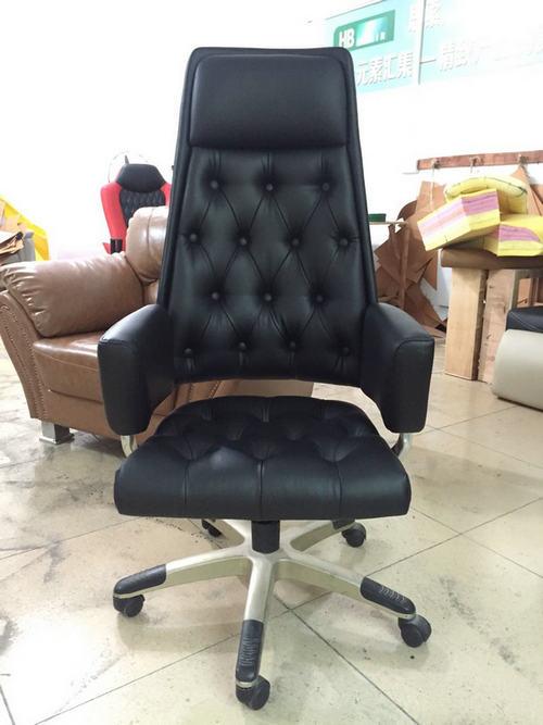 black leather office revolving chair height adjustable back tilt mechanism whole sale factory -1