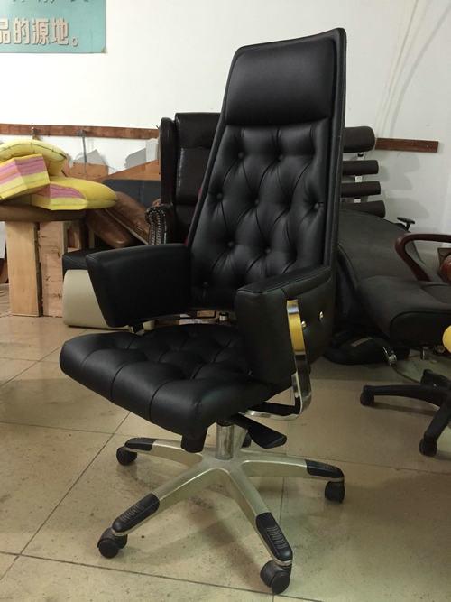 black leather office revolving chair height adjustable back tilt mechanism whole sale factory -2