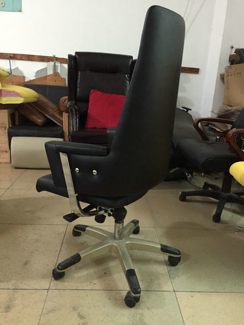 black leather office revolving chair height adjustable back tilt mechanism whole sale factory -3