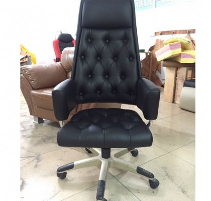 black leather office revolving chair height adjustable back tilt mechanism whole sale factory