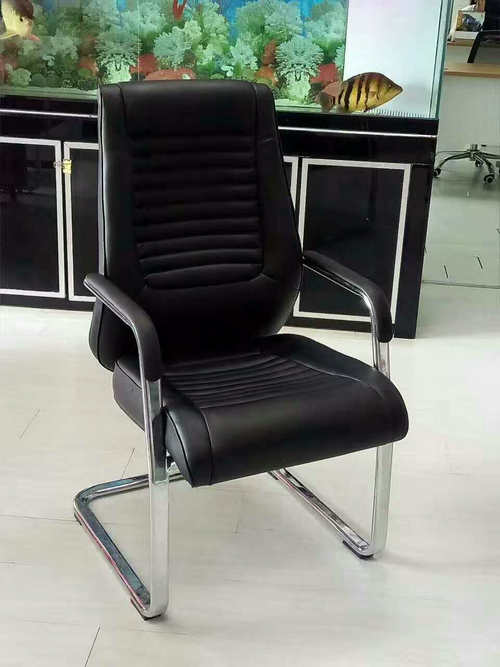 Customized PU leather meeting office chair visitor chair conference seating for public areas -1