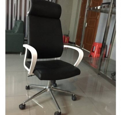 Guangzhou High-Back Manager Chair PU Leather Bucket Seat Computer Swivel Chair Lumbar Support