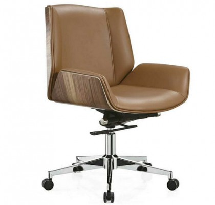 Low Back Brown PU Leather Operator Chair Staff Task Swivel Stool